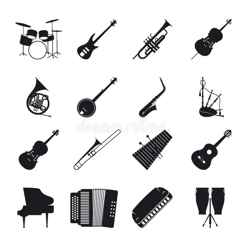 Silhouetten van het jazz de muzikale instrument stock illustratie