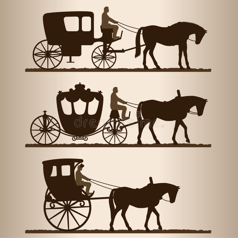 Silhouetten van het vervoer royalty-vrije illustratie