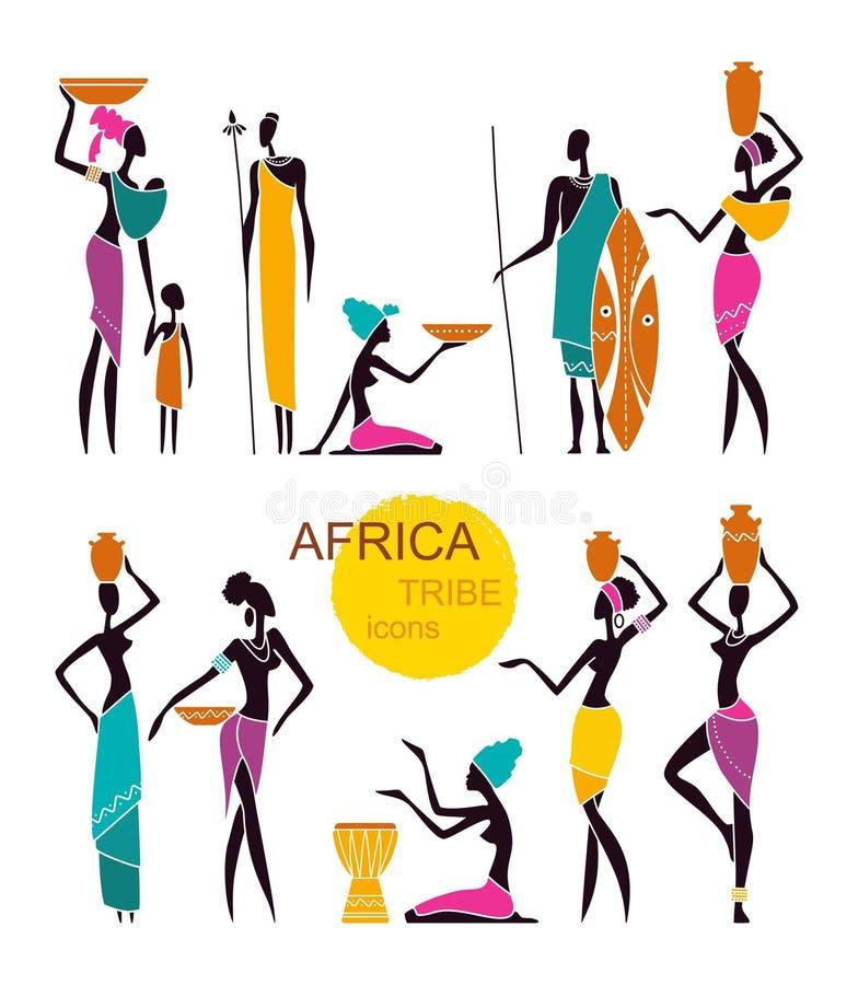 Silhouetten van inheemse Afrikaanse mensen royalty-vrije illustratie