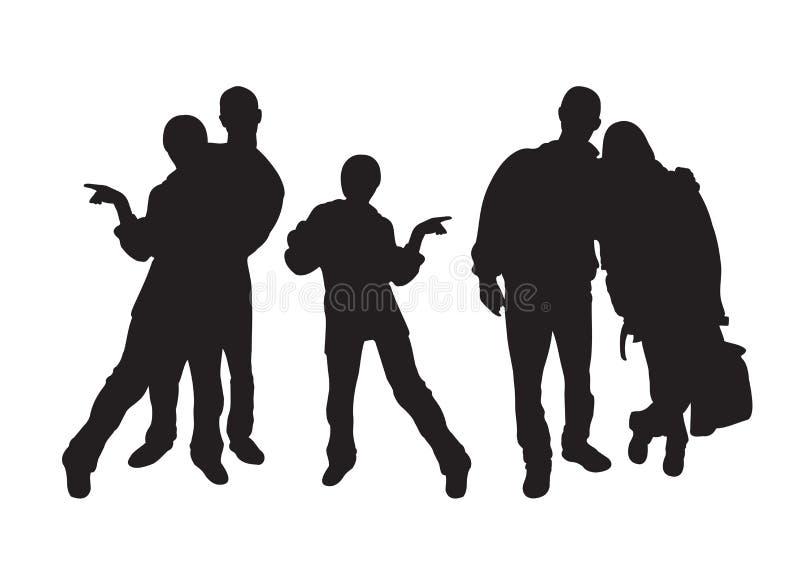 Silhouetten van jonge mensen stock afbeeldingen