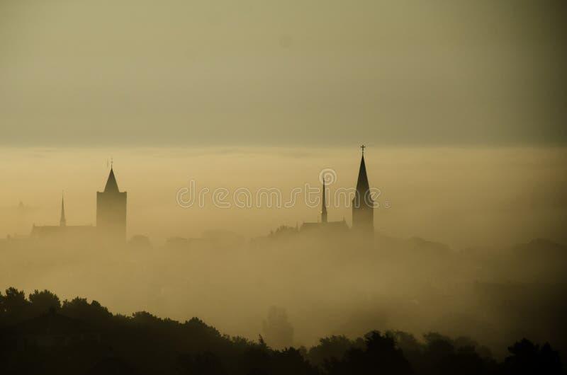 Silhouetten van kerken in mist met bos in de voorgrond worden behandeld die royalty-vrije stock foto