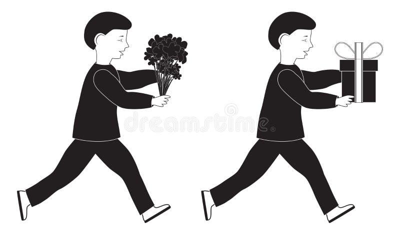 Silhouetten van kind met bloemen en gift royalty-vrije stock fotografie