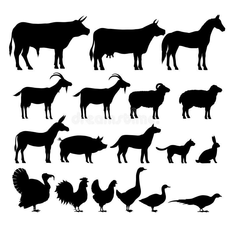 Silhouetten van landbouwbedrijfdieren vector illustratie