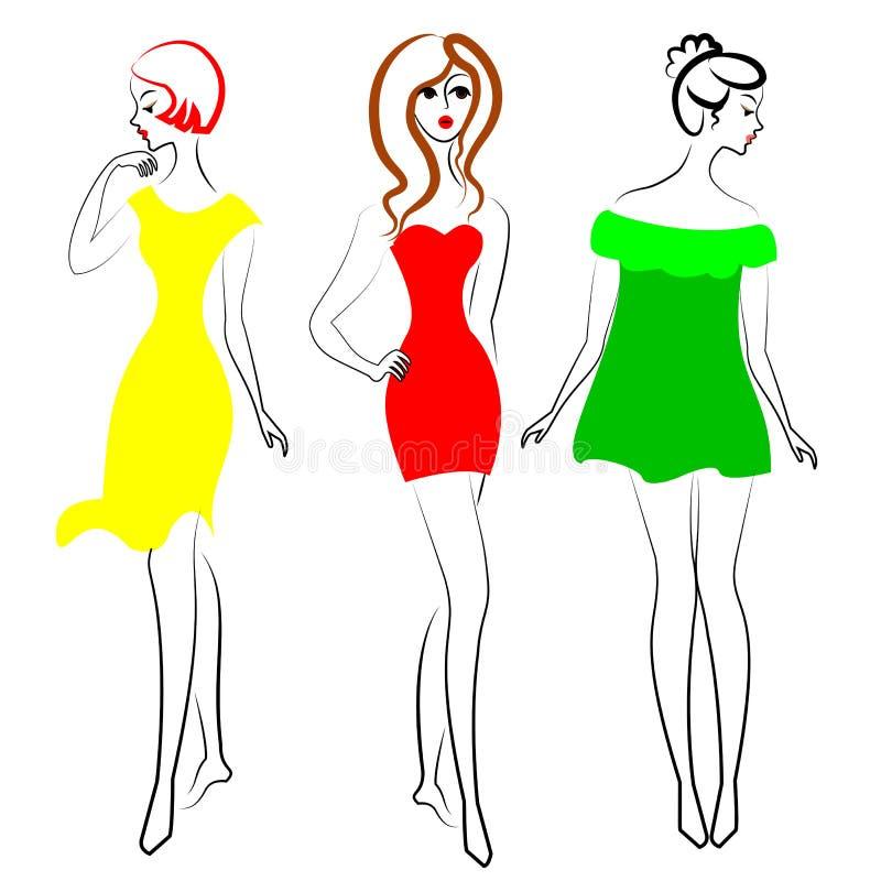 Silhouetten van leuke dames in profiel en volledig gezicht De meisjes tonen verschillende stijlen van modieuze kleding De modelle royalty-vrije illustratie