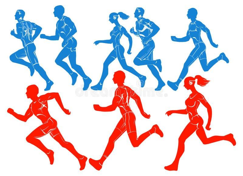 Silhouetten van lopende atleten stock fotografie