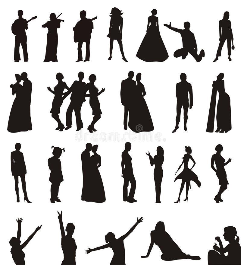 Silhouetten van mannen en vrouwen stock illustratie