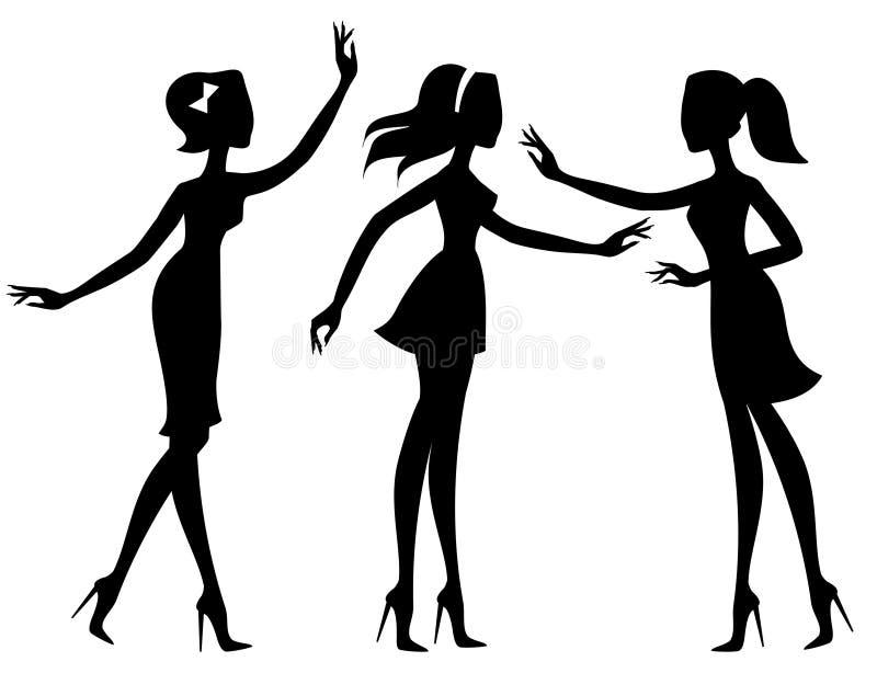Silhouetten van meisjes stock illustratie