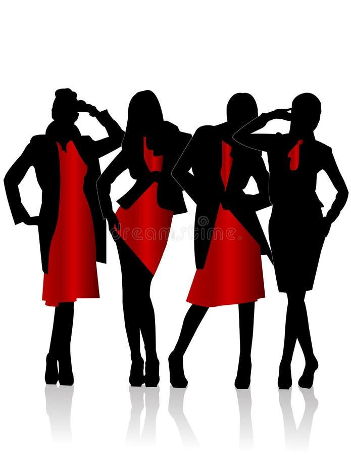 Silhouetten van meisjes royalty-vrije illustratie