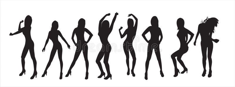 Silhouetten van meisjes stock afbeelding