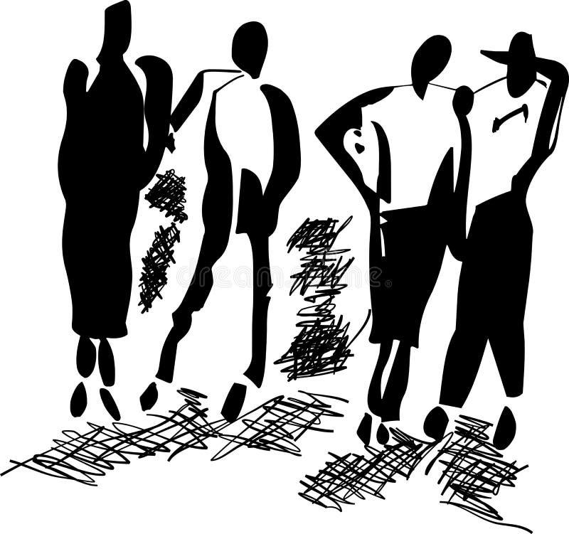 Silhouetten van mensen royalty-vrije stock afbeeldingen