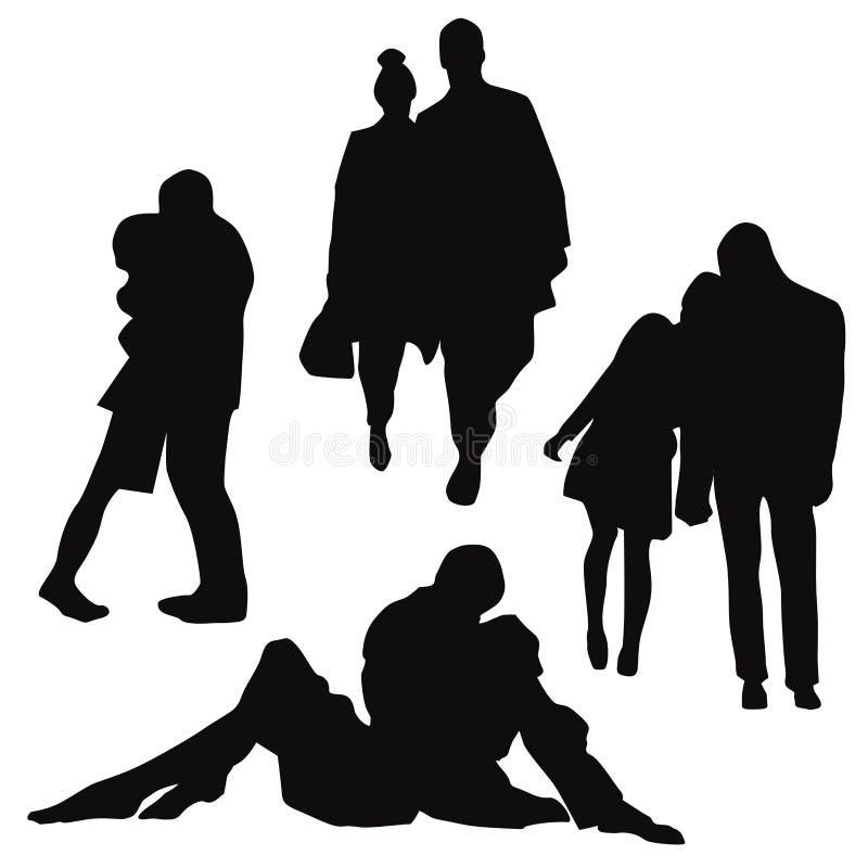 Silhouetten van mensen van de minnaar, vector stock illustratie