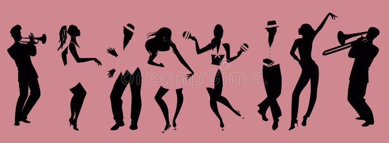 Silhouetten van mensen het dansen salsa en musici het spelen royalty-vrije illustratie