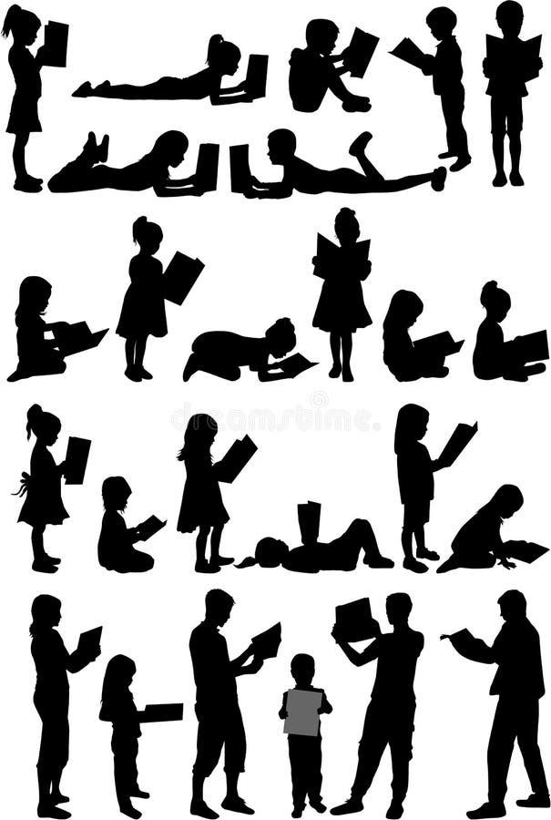 Silhouetten van mensen met een boek stock illustratie