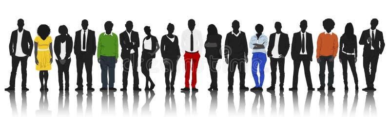 Silhouetten van Mensen op een rij met wat Kleur royalty-vrije illustratie