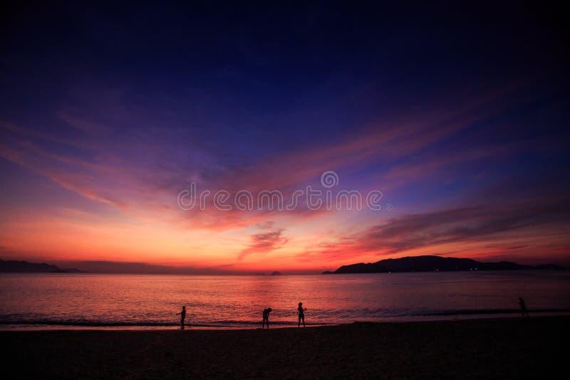 silhouetten van mensen op strand tegen rode hemel vóór zonsopgang stock afbeeldingen