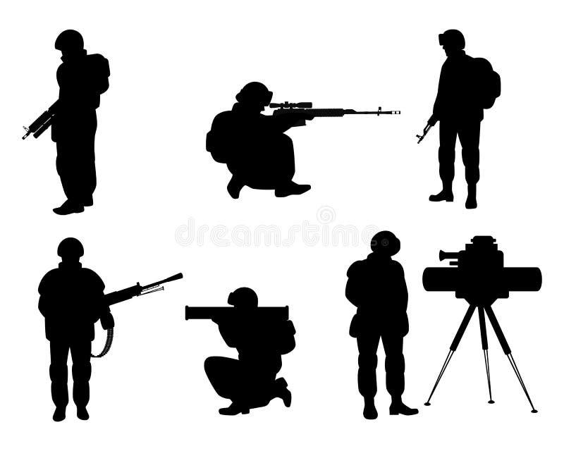 Silhouetten van militairen met wapens stock illustratie