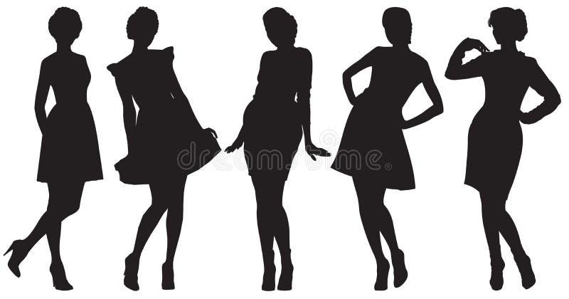 Silhouetten van mooie vrouwen vector illustratie