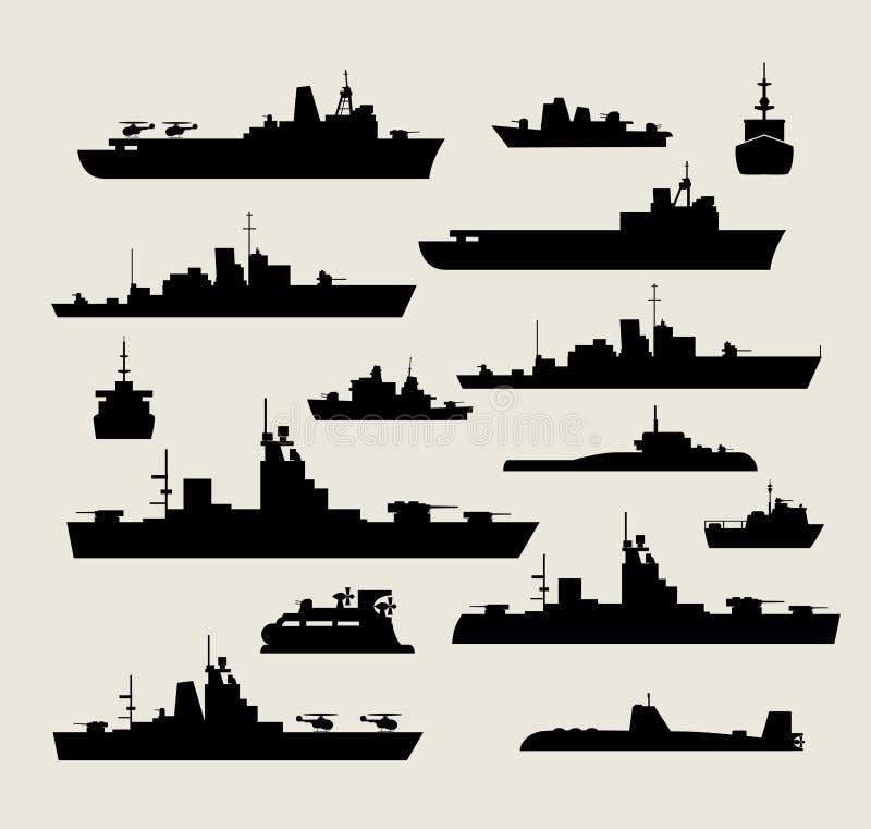 Silhouetten van oorlogsschepen vector illustratie