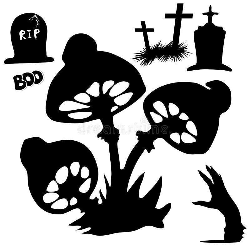 Silhouetten van paddestoel-afval, graven, dode handen Halloween stock illustratie