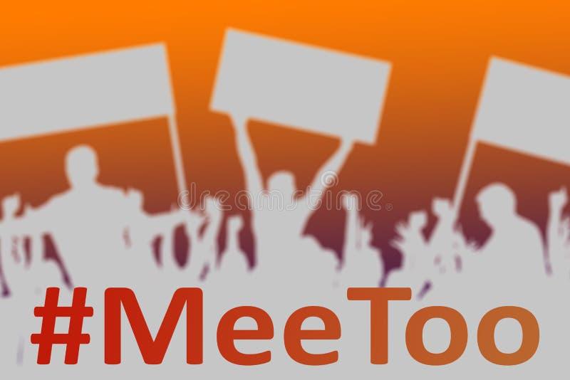Silhouetten van protesterende mensen als symbool van nieuwe beweging MeeToo vector illustratie