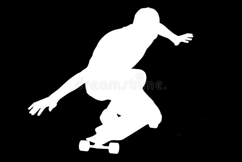 Silhouetten van schaatserjongen stock foto