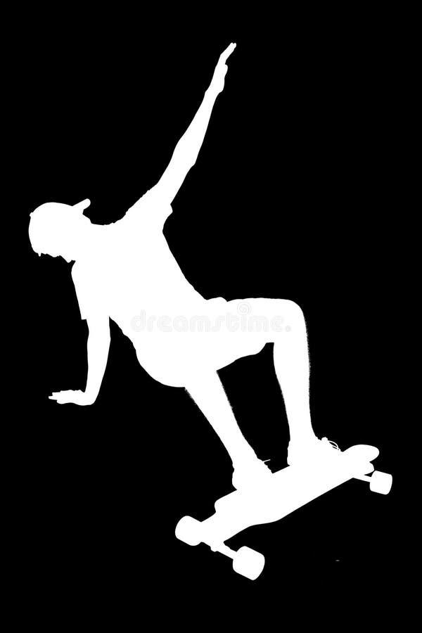 Silhouetten van schaatserjongen royalty-vrije stock foto's