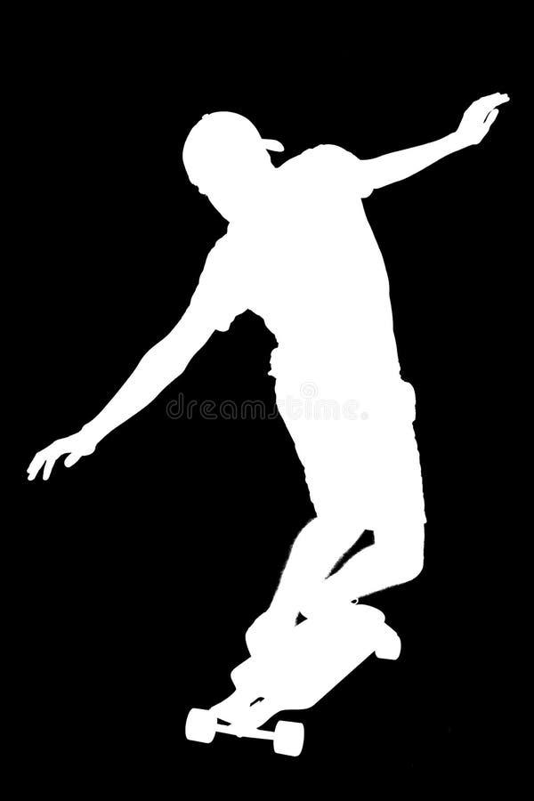 Silhouetten van schaatserjongen royalty-vrije stock foto