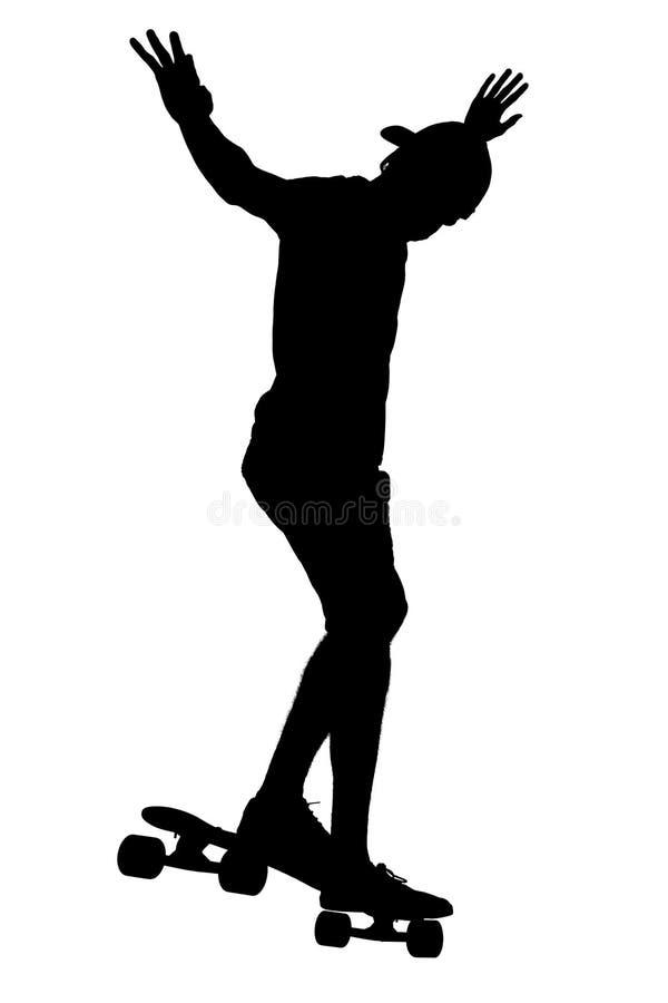 Silhouetten van schaatserjongen stock fotografie