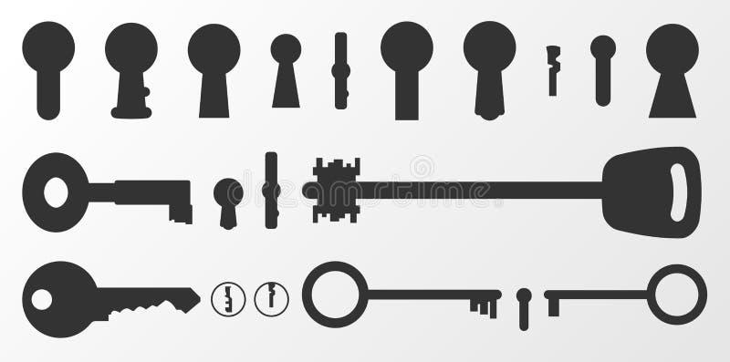 Silhouetten van sleutelgaten en sleutels Vector illustratie vector illustratie