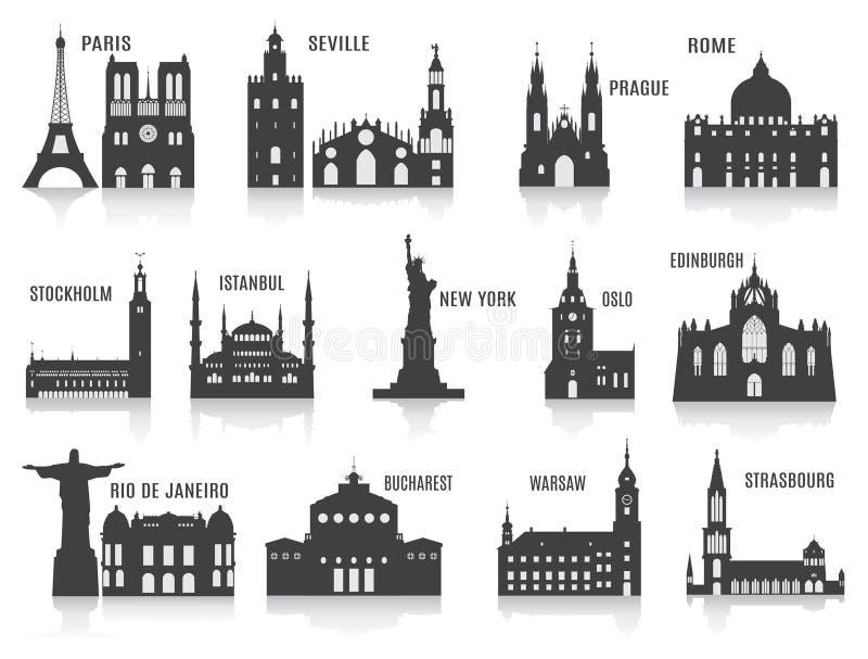 Silhouetten van steden stock illustratie