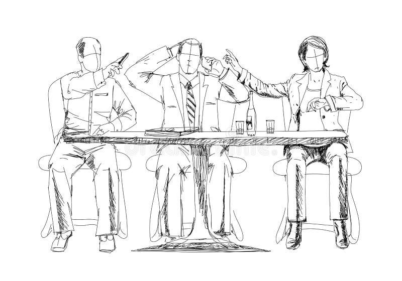 Silhouetten van succesvolle bedrijfsmensen die aan vergadering werken schets royalty-vrije illustratie
