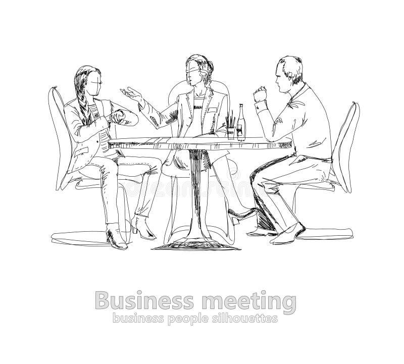 Silhouetten van succesvolle bedrijfsmensen die aan vergadering werken schets vector illustratie