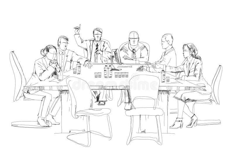 Silhouetten van succesvolle bedrijfsmensen die aan vergadering werken schets stock illustratie