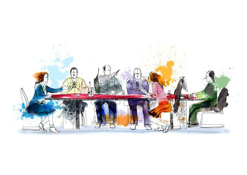 Silhouetten van succesvolle bedrijfsmensen die aan vergadering werken Schets met kleurrijke waterkleur vector illustratie