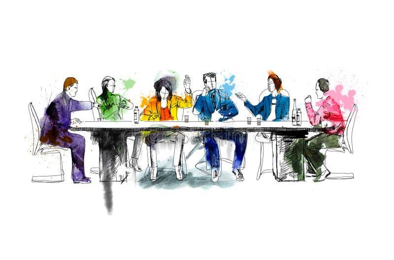 Silhouetten van succesvolle bedrijfsmensen die aan vergadering werken Schets met kleurrijke waterkleur stock illustratie