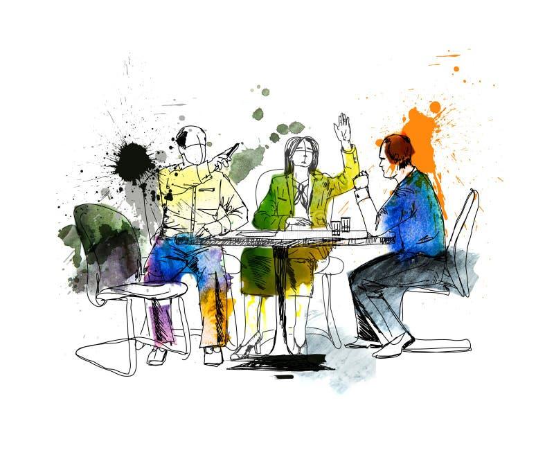 Silhouetten van succesvolle bedrijfsmensen die aan vergadering werken Schets met kleurrijke waterkleur royalty-vrije illustratie