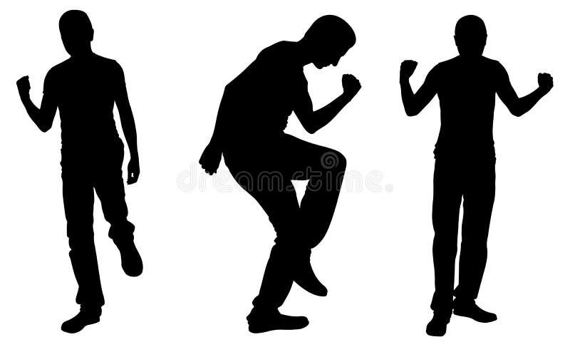 Silhouetten van succesvolle mensen stock illustratie