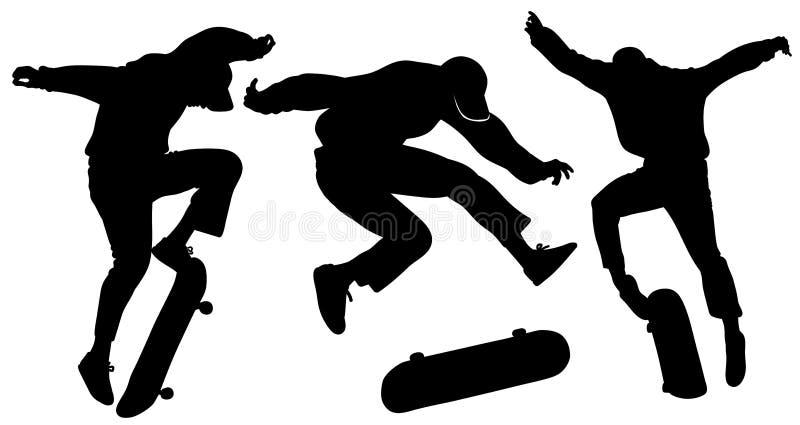 Silhouetten van tieners die op een skateboard springen stock illustratie