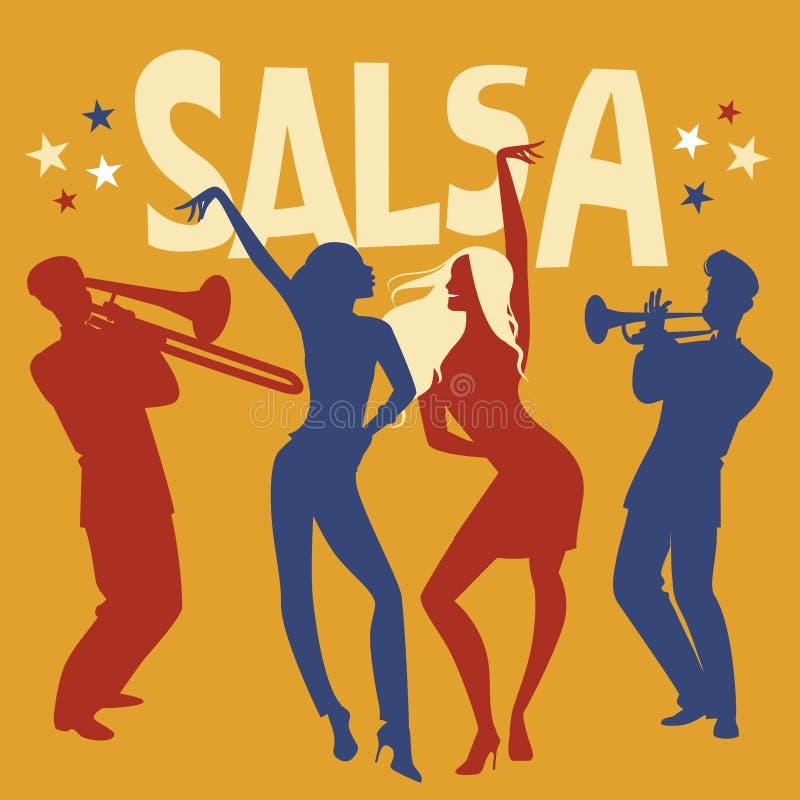 Silhouetten van twee meisjes het dansen salsa stock illustratie