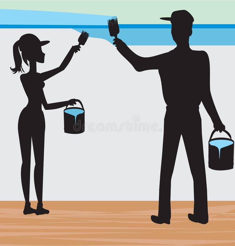 Silhouetten van twee mensen die een muur schilderen vector illustratie