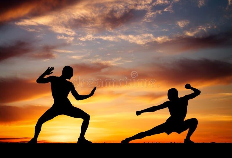 Silhouetten van twee vechters op zonsondergangachtergrond royalty-vrije stock afbeelding