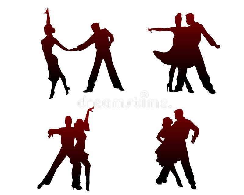 Silhouetten van vier dansende paren stock illustratie