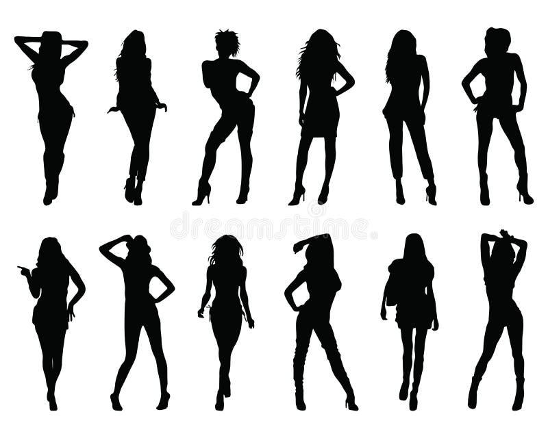 Silhouetten van vrouwen stock foto's
