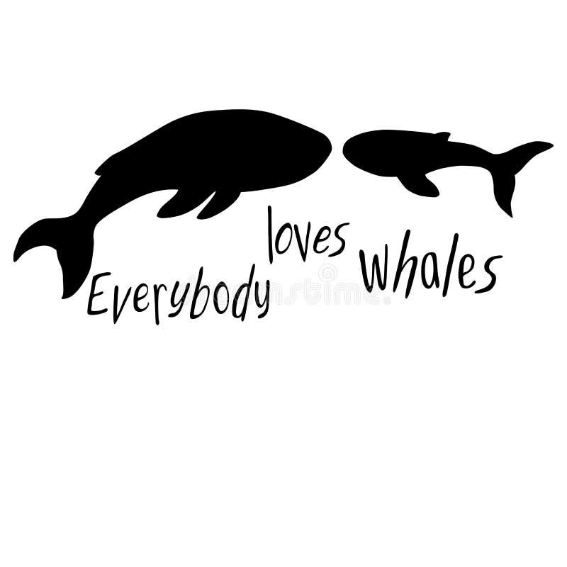 Silhouetten van walvissen op een witte achtergrond inschrijving stock illustratie