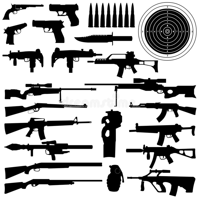 Silhouetten van wapens, kanonnen royalty-vrije illustratie