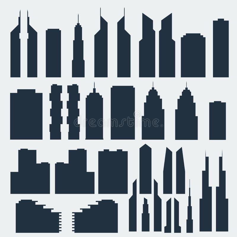Silhouetten van wolkenkrabbers vector illustratie