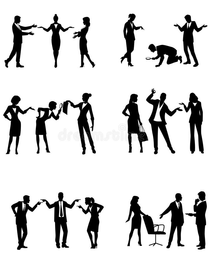 Silhouetten van zakenlui in actie stock illustratie
