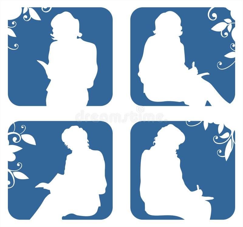 Silhouetten van zittingsvrouwen vector illustratie
