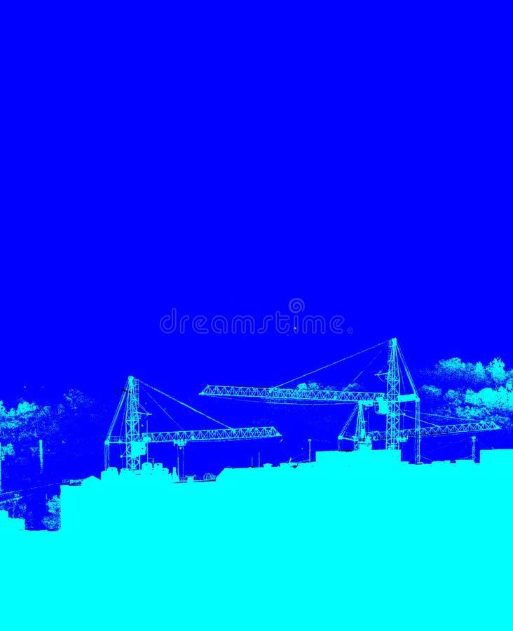 Silhouetten von Hebekranen, neue mehrstöckige Gebäude in monochrome blaue Version Kunstposter stock abbildung