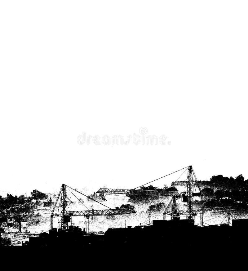 Silhouetten von Hebekranen, neue mehrstöckige Gebäude in monochrome Schwarzweiß-Ausführung Kunstposter lizenzfreie abbildung